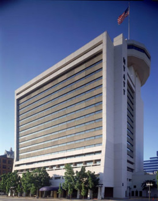 Hyatt Hotel in Milwaukee. You can see Polaris spinning restaurant on the top