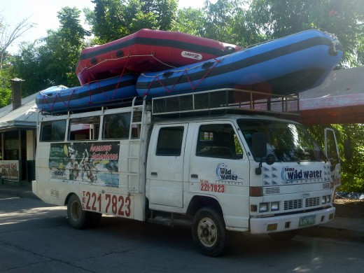 The open aired ride to the river for our  white water rafting. Our rafts are on top, lifevests are inside.