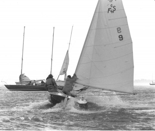 Flying Scot in Squall, GPC Regatta c. 1978, deedsphoto (The Scott capsized shortly after the picture was taken.)