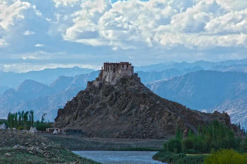 A scenic monastery atop a hill in Ladakh in Jammu and Kashmir state