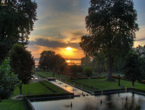 A surreal sunset shot at Nishat Bagh Mughal gardens