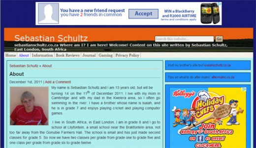 This is a screenshot of the about page of sebastianschultz.co.za