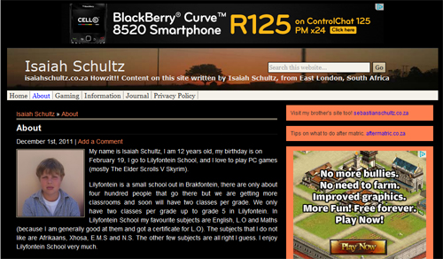 This is a screenshot of the about page of isaiahschultz.co.za