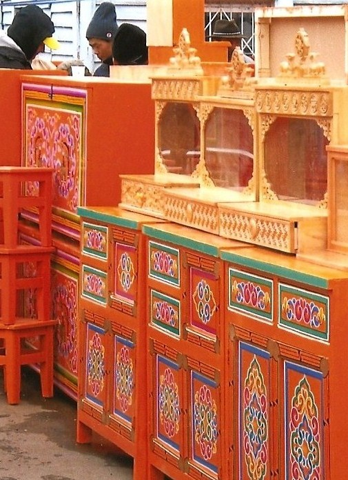 Wooden cabinets used to furnish a ger.