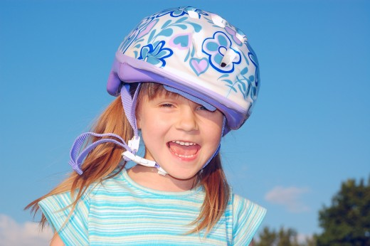 Bike helmets help ensure child safety.