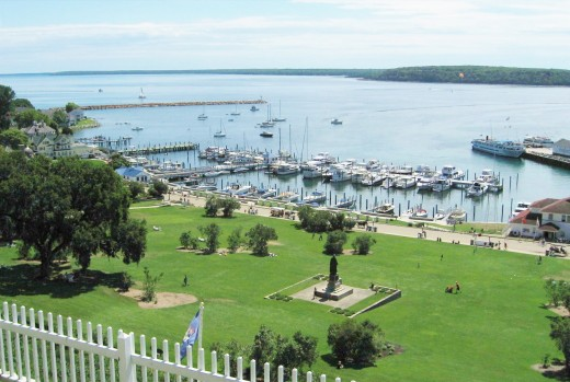 View looking down from Fort Mackinac