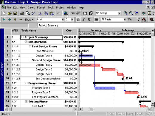 Example project plan in Microsoft Project