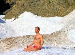 Iceman practicing Tummo in freezing temperature.