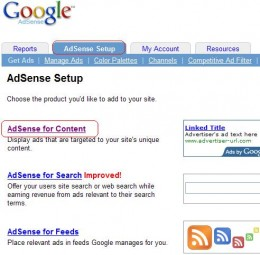 Click the Adsense Setup tab then the Adsense for Content