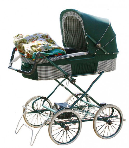 1960s metal and cloth pram