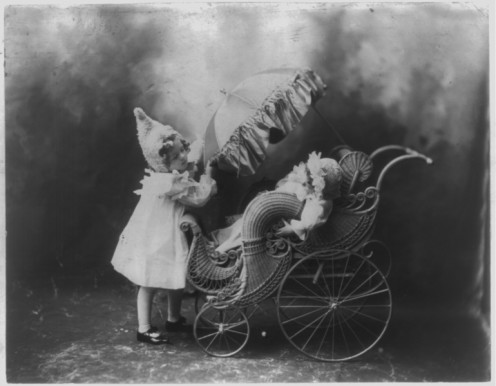 Highly elaborate wicker baby carriage, circa1900