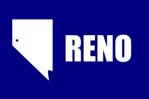 This is the corrected flag of the City of Reno, NV showing the state in its correct rectangular shape.