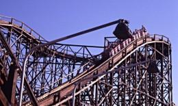The roller coaster at the Linnanmäki amusement park in Helsinki, Finland.