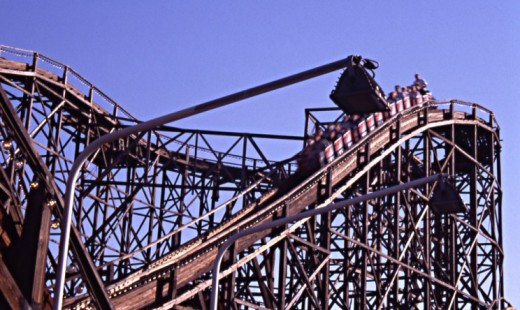 The roller coaster at the Linnanmäki amusement park in Helsinki, Finland.