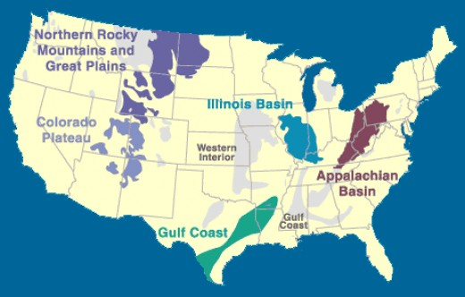 Coal-bearing regions in the United States.  What's scary is that all these regions could be subject to mountaintop removal.