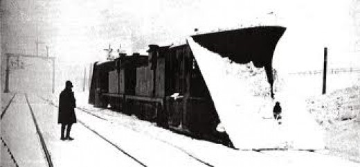 Doubled-up: locos with snow ploughs back-to-back for additional strength