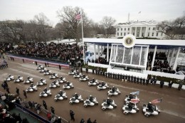 The Inaugural Parade down Pennsylvania Avenue past the President's reviewing stand in front of the White House on January 20, 2005. Credit: White House public domain photo