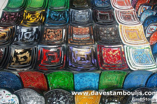 Painted plates at a souvenir shop in Ubud, Bali