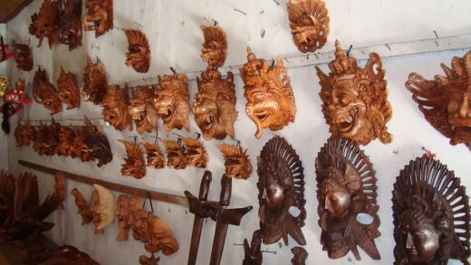 Bali 317 miniature wooden masks in Ubud, Bali.