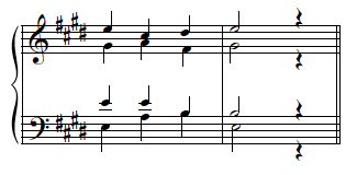 Incomplete I chord (triple root), comfortable tenor and common tone kept.