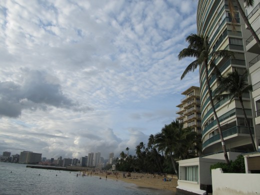 View of Kaimana Beach from Outrigger Canoe Club.