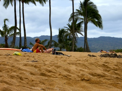 Scott Caan of Hawaii Five O fame enjoys a relaxing day at Ali'i Beach Park.