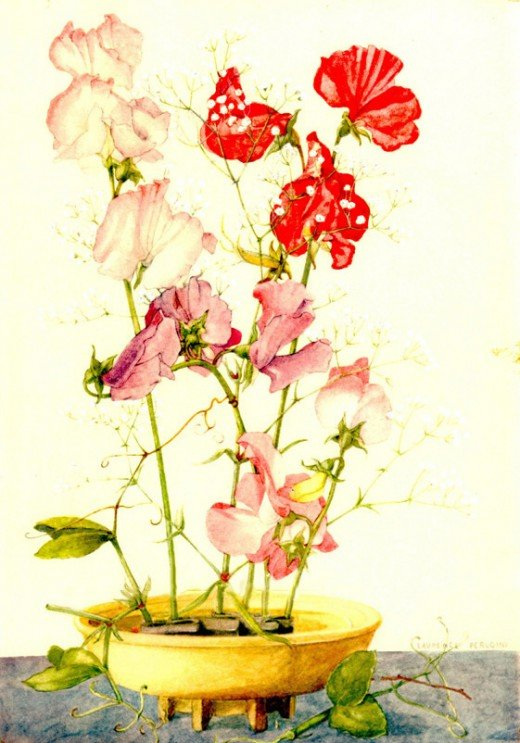 "Antique print from painting by Laurence Perugini, ""Sweet Peas"", printed in Switzerland, c.1930"