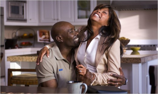 Morris Chestnut and Taraji P. Henson share a laugh in Not Easily Broken movie