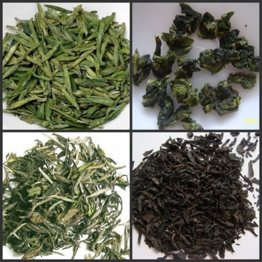 From down-left-clockwise:White Tea, Green Tea, Black Tea, Oolong Tea