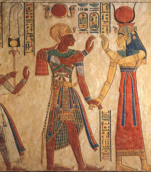 Rameses III confronts Isis, Valley of the Queens, Egypt