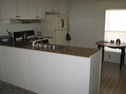 My kitchen uncluttered and everything what little I have put away.