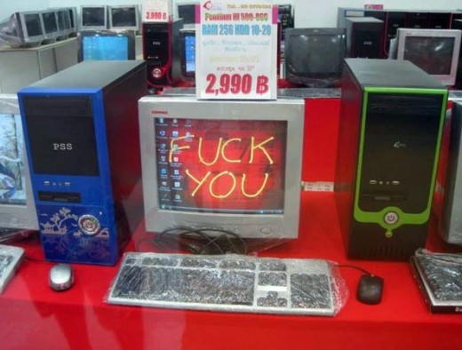 Lost in translation - a window display in a major computer store.