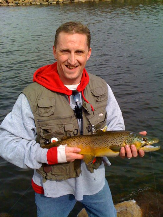 Angler Joe Jacobsen with a large Brown Trout from the Big Thompson River in Colorado
