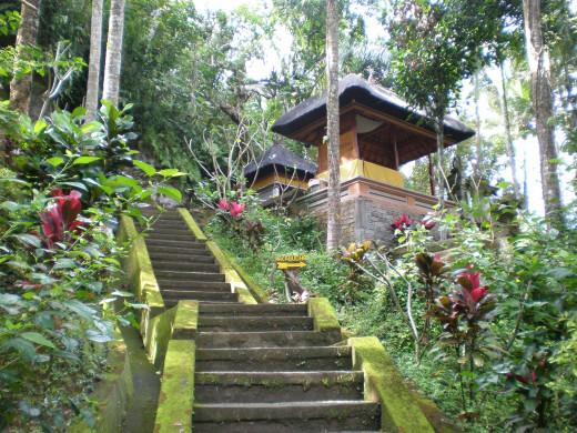 """Goa Gajah"" or Elephant Cave's beautiful and luscious surrounding gardens; Ubud, Bali, Indonesia."
