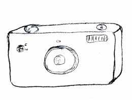 Simple sketch of typical 35mm single-lens-reflex format camera