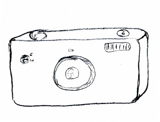 Simple sketch of typical 35mm SLR format camera
