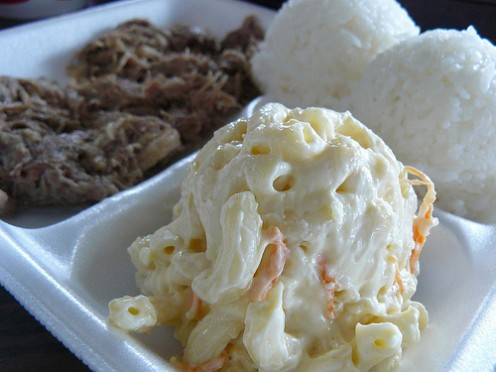 A typical plate lunch in Hawaii
