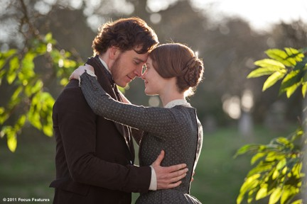 "Fassbender and Wasikowska embrace their new found love in ""Jane Eyre."""
