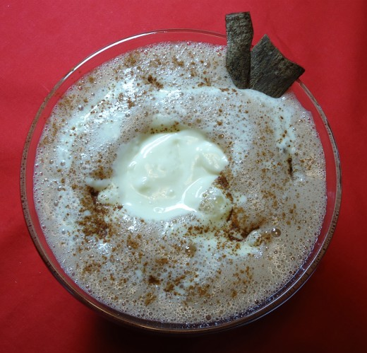 Add a dollop of cream to the top, depending on how thick you like your egg nog.