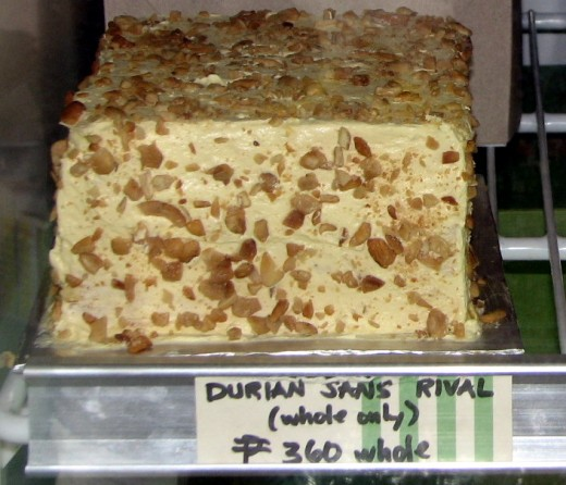 Lachi's Durian Sansrival - layers of cake with nuts