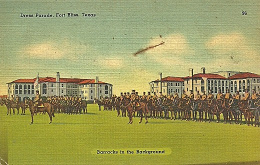 DRESS PARADE, FORT BLISS, TEXAS  BARRACKS IN BACKGROUND