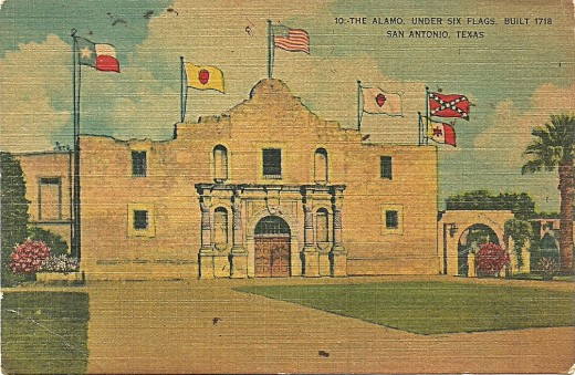 THE ALAMO UNDER SIX FLAGS BUILT 1718, SAN ANTONIO TEXAS