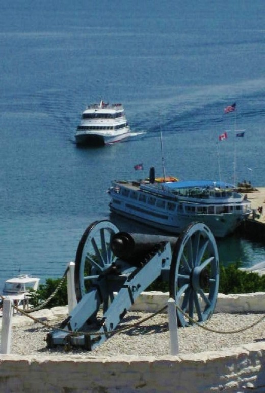 Looking down from Fort Mackinac towards the ferry docking place on the island.
