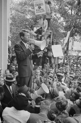 Kennedy speaks to crowd outside Justice Department (Jun 14, 1963).