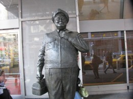 A fairly close look at Ralph Kramden in front of the Port Authority in New York City.
