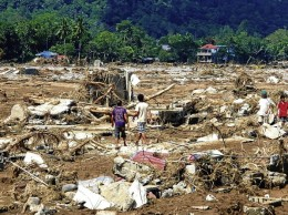 One of the villages that was swept away by the flood waters.