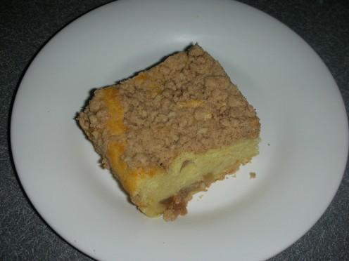 Slice of apple ricotta cake