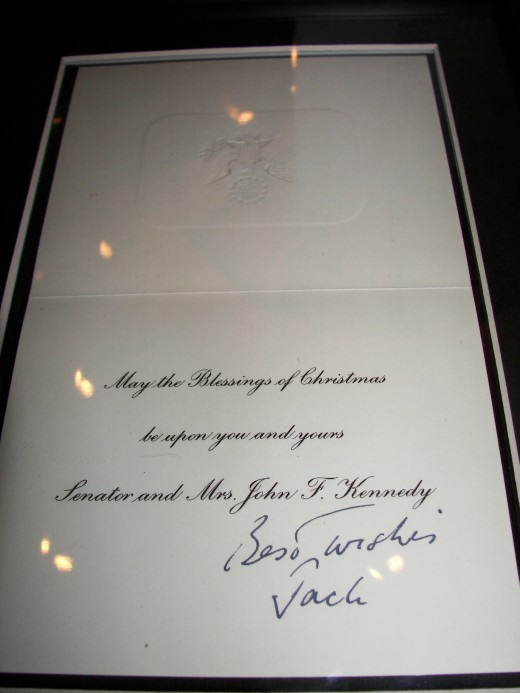 "1960 Kennedy Christmas Card Signed Best Wishes Jack reads ""May the Blessings of Christmas be upon you and yours. Senator and Mrs. John F. Kennedy"""