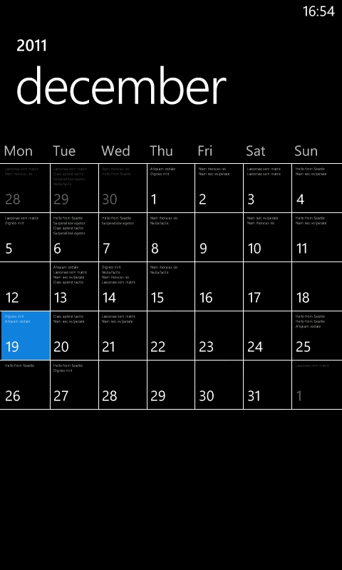 Lumia Calendar