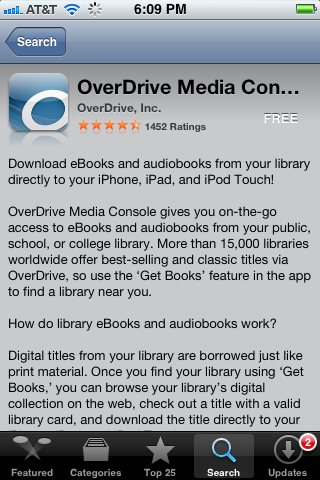 The OverDrive Media Console app Info page.